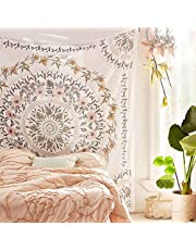 Simpkeely Sketched Floral Medallion Tapestry, Bohemian Mandala Wall Hanging Tapestries, Indian Art Print Mural for Bedroom Living Room Dorm Home Decor 59.1x80 Inches