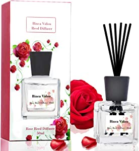binca vidou Rose Reed Diffuser Set, Scented Oil Diffuser with Rattan Sticks for Bedroom Bathroom Office Home Fragrance Gift 50 ml/ 1.7 oz