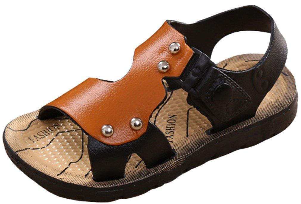 VECJUNIA Boy's Girl's Athletic Water Sandals Anti-Slip Low Top Open Toe Flat Shoes Outdoor Beach Sandals (Brown, 12 M US Little Kid)