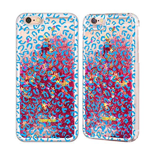 Official Cosmopolitan Blue Leopard Animal Skin Patterns Hot Pink Liquid Glitter Case Cover for Apple iPhone 6 / 6s