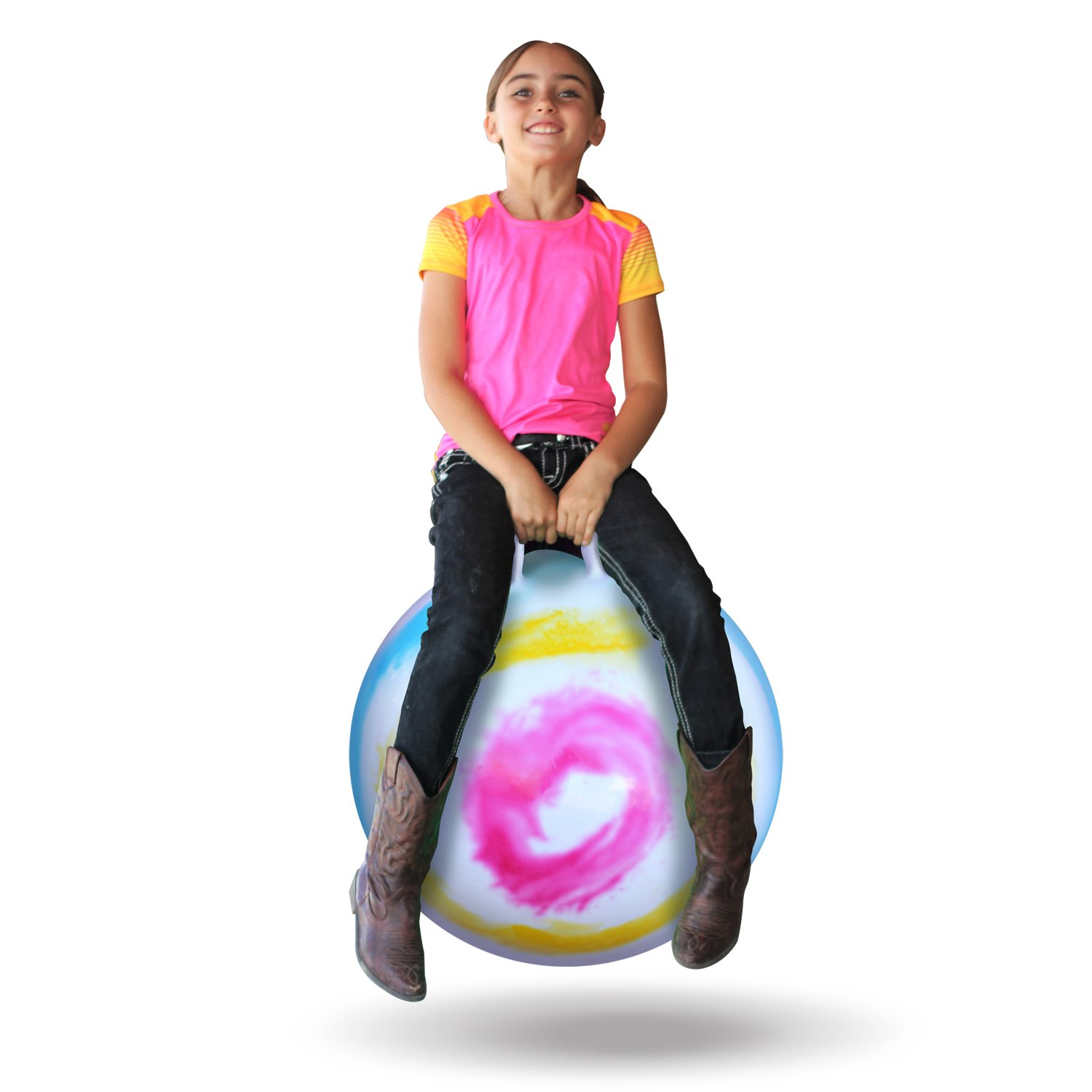 WALIKI Toys Hopper Ball for Kids Ages 3-6 Hippity Hop Ball, Hopping Ball, Bouncy Ball with Handles, Sit /& Bounce, Kangaroo Bouncer, Jumping Ball, 18 Inches, Rainbow Tie Dye, Pump Included