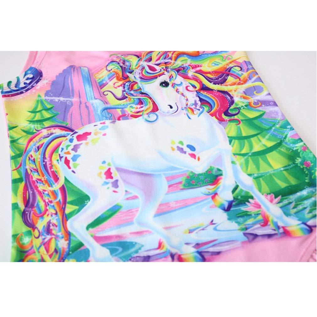 Wetry Bambina Ragazza Costume da Bagno Unicorno Arcobaleno Costume Intero per 3-8Anni