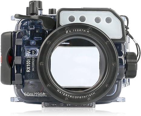 seafrog 60 m/195ft impermeable carcasa submarina para cámara caso ...
