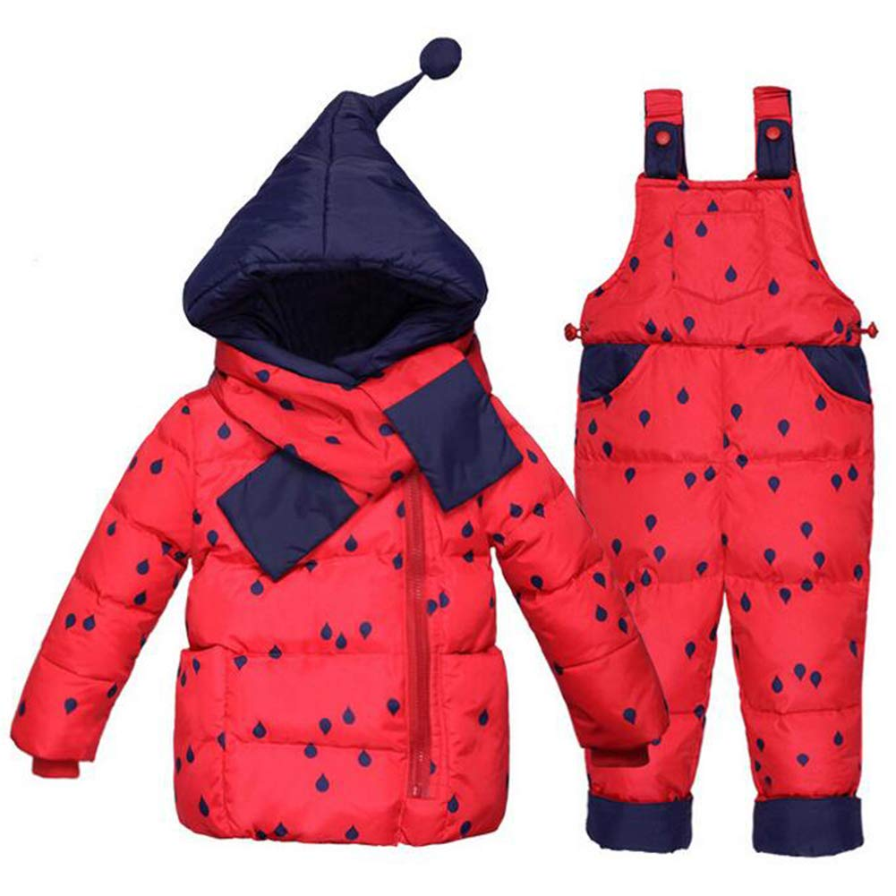 Baby Toddler Winter Snowsuit Polka Dot Puffer Jacket Hoodie Coat Down Snowpants Bib Down Coat 2 Piece Clothing Outfit Set HC-COAT-52