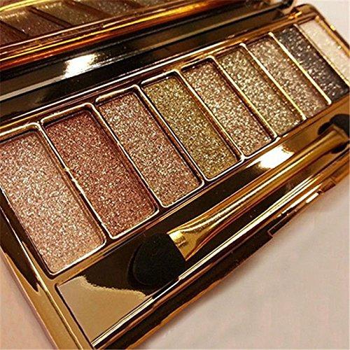 9 Colors Diamond Shimmer Glitter Eyeshadow Palette with eye shadow makeup Brush (Bronze Eye Brush)