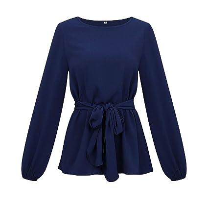 UNIQUE-F Primavera y otoño, Camisa de Mujer, Cuello Redondo ...