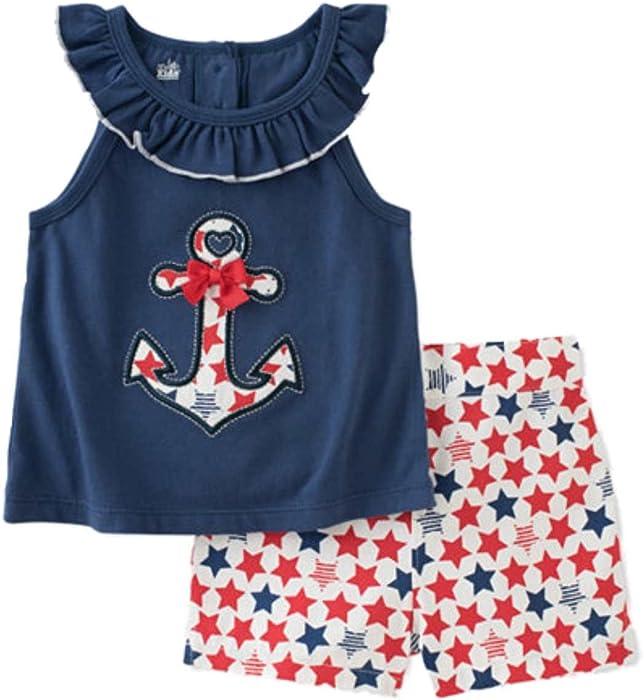 c7cd61822b0 Amazon.com  Kids Headquarters Infant Girls Anchor Shirt   Star Shorts  Patriotic Outfit 6-9m  Clothing