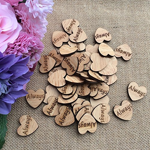 LANGUGU 100Pcs Wood Engraved Love Heart Confetti Decor Rustic Wedding Table Scatter Decoration Bridal shower, Events ,Party Embellishments DIY Crafts (Always)