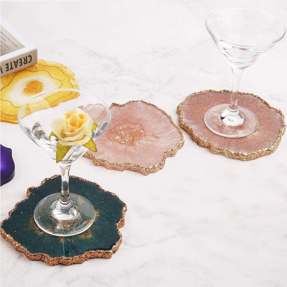 WENTS 4PCS Agate Coaster R/ésine Coul/ée Moule Silicone Fabrication /Époxy Moule Argile Coaster /Époxy R/ésine Moule pour La D/écoration Artisanat DIY Moule Resine Bijoux