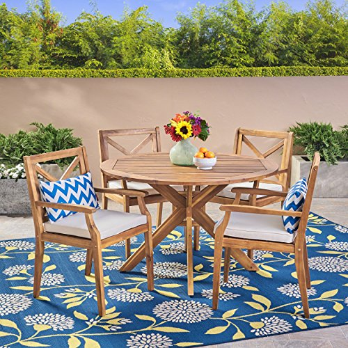 Great Deal Furniture Jordan Outdoor 5 Piece Acacia Wood Dining Set, Teak and Crème