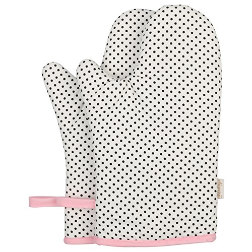 Vintage Oven (Neoviva Cotton Canvas Oven Mitt for Adult, Pack of 2, Polka Dots White)