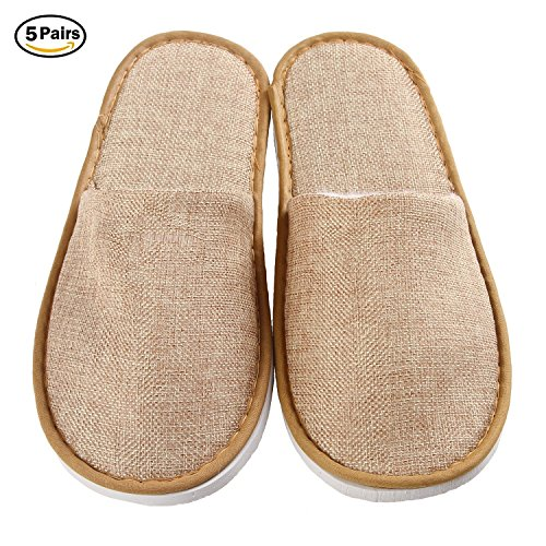 5 Pairs Disposable Slippers for Guests, Closed Toe Spa Slippers for Women and Men by Home&Love