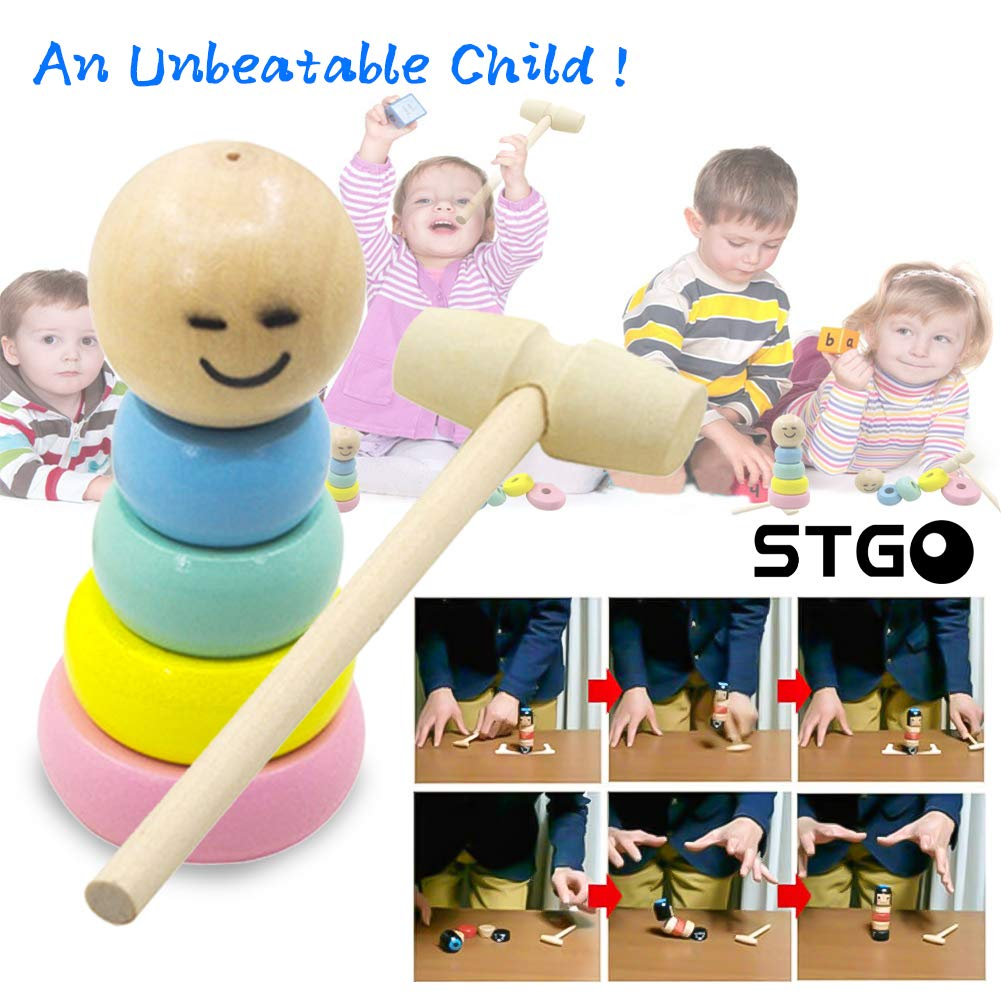 STgo 2019 Funny Wooden Magic Toy Gift - Unbreakable Wooden Man Magic Toy-Halloween Magic Tricks,1 Set Immortal Wooden Doll Toy Halloween Magic Tricks Funny Toy ,Bring Good Luck Wooden Doll by STgo