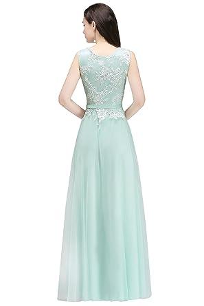 f43e263ea217ed 2018 Elegant Damen Hochwertig Tüll Abendkleid Lang Ballkleid Abschlusskleid  Spitzenkleid Jugendweihe Kleid Gr.32-46: Amazon.de: Bekleidung