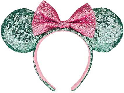 1 Pcs Green Mickey Minnie Mouse Ears Headbands Pink Bow Hoop Hair Accessories Glitter Sequin Princess Party Decoration for Party Festivals