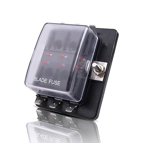 MICTUNING LED Illuminated Automotive Blade Fuse Holder Box 6-Circuit Fuse Block