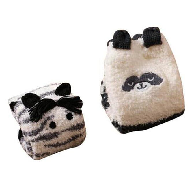 2 Pares Suave Fuzzy Dormir Medias Antideslizantes, Calcetines del Piso Calcetines-Cebra y Panda: Amazon.es: Ropa y accesorios