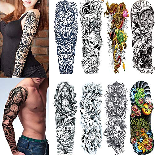Yesallwas 8 Sheets Full Arm Extra Large Temporary Tattoos, Body Art For Men And Women -Dragon, Koi Fish,Black Skull,Tribal Symbol