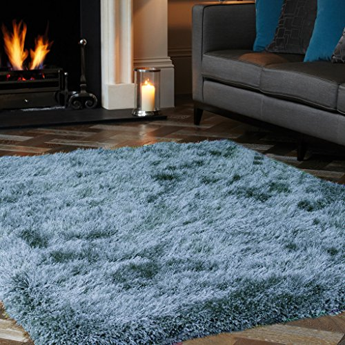 Cascade Duck Egg Blue Thick Soft Fluffy Polyester Shaggy Rug For Living Room ()