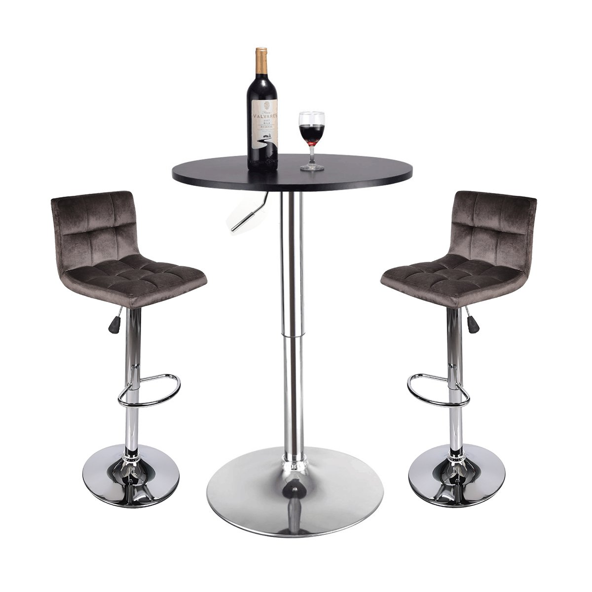 35 Inches Height Pub Table Round Black MDF Top, with 2 Dark Brown Contemporary Chrome Air Lift Barstool Flannel Padded Adjustable Swivel Stools
