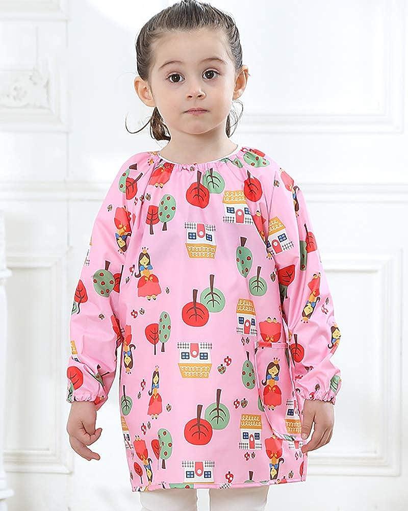 Daoba Bambini Grembiule da Pittura Scuola Bavaglino Maniche Lunghe con Tasche Impermeabile Unisex 1-8 Anni
