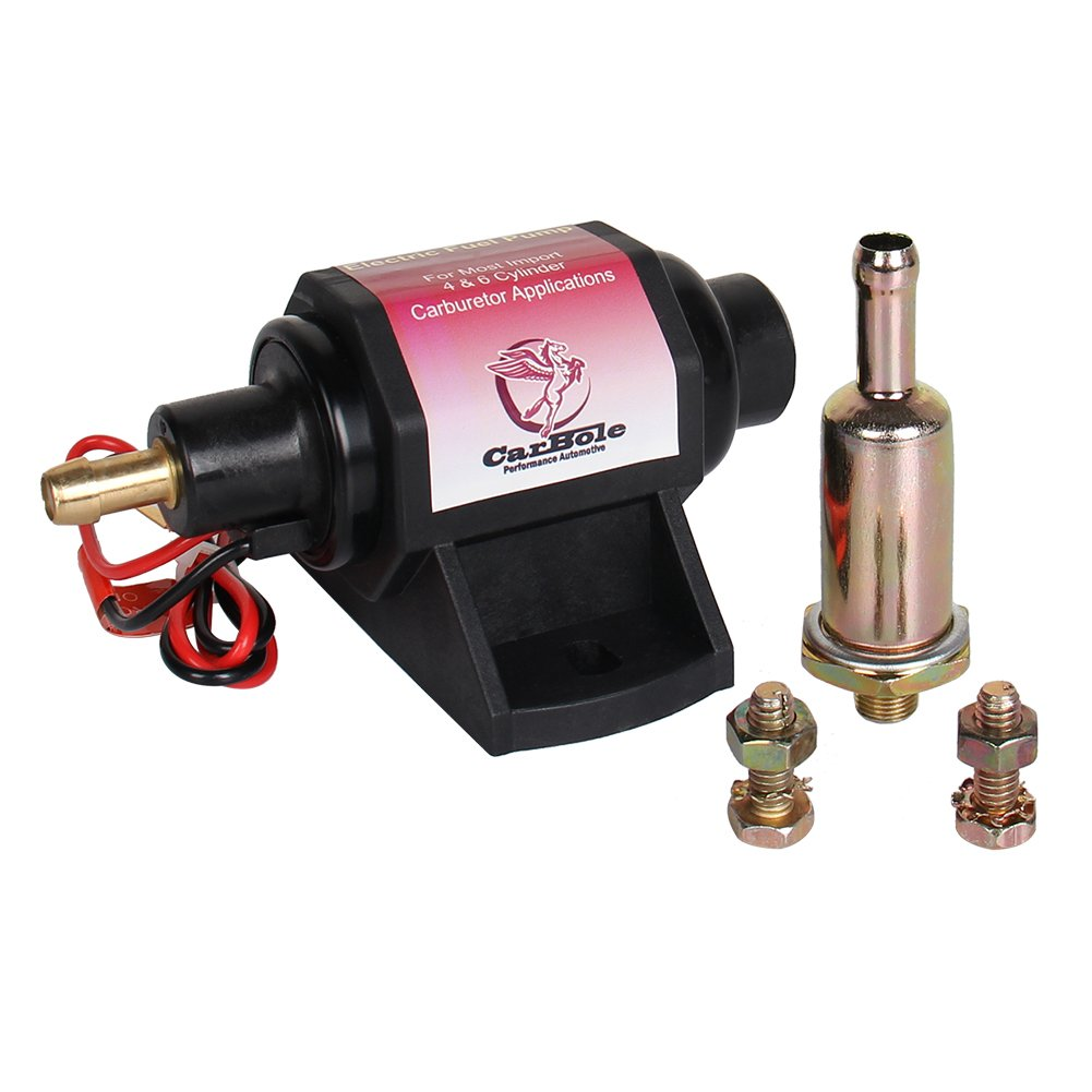 CarBole Electric Gasoline Fuel Pump Universal 5/16 inch Inlet and Outlet 12V 1-2A 28GPH 2-3.5P.S.I. Operating Fuel Pressure 2-wire Design