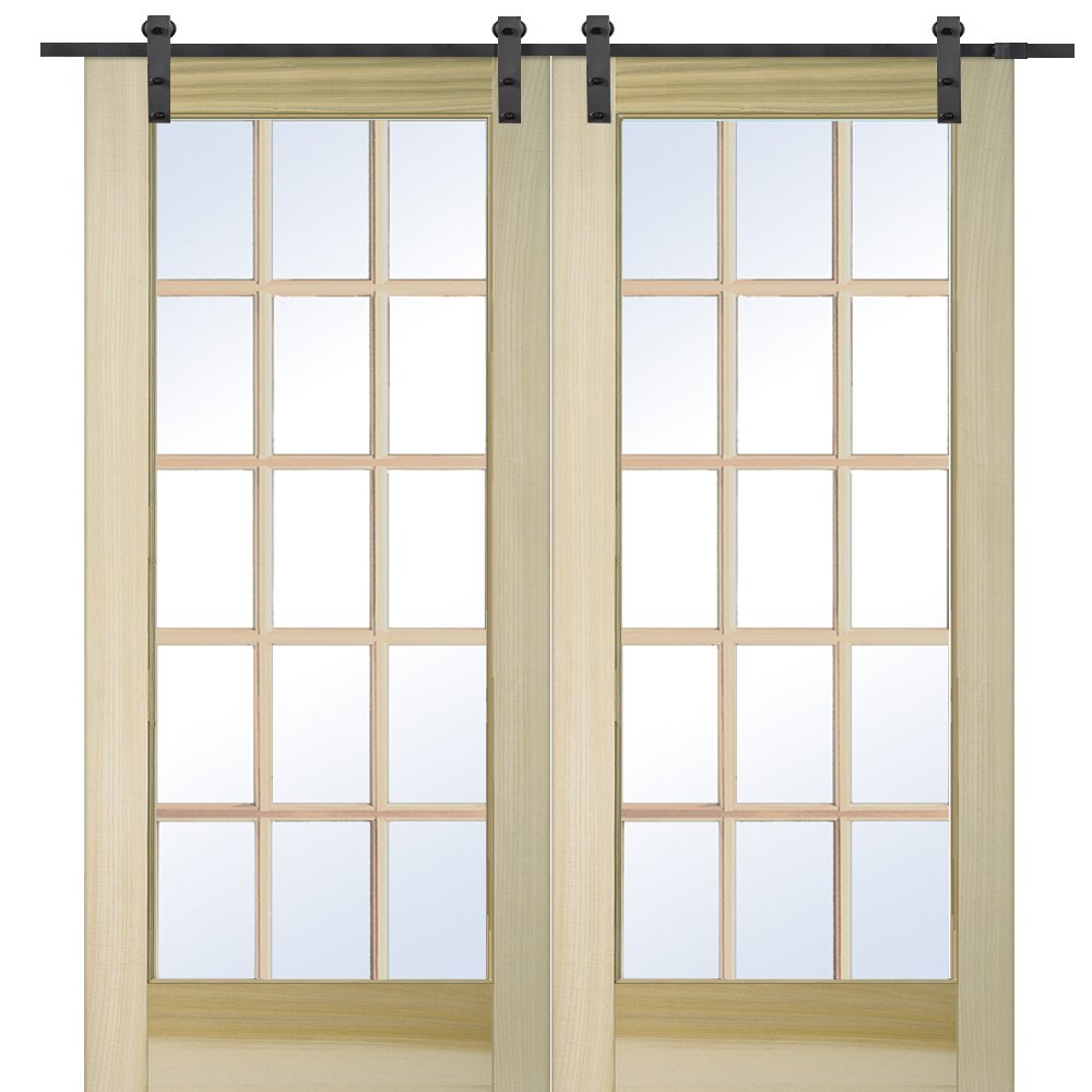 National Door Company Z009638 Unfinished Poplar Wood 15 Lite True Divided Clear Glass, 60'' x 80'', Barn Door Unit