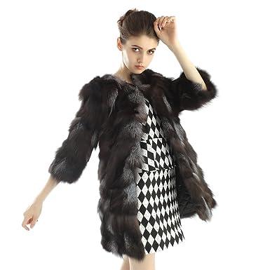 Miami para mujer auténtica de piel de zorro chaqueta 3/4 Sleeve ...