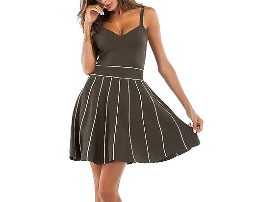 N&j2019 Nuevo Vestido Falda Plisada sin Respaldo con Cuello en V ...
