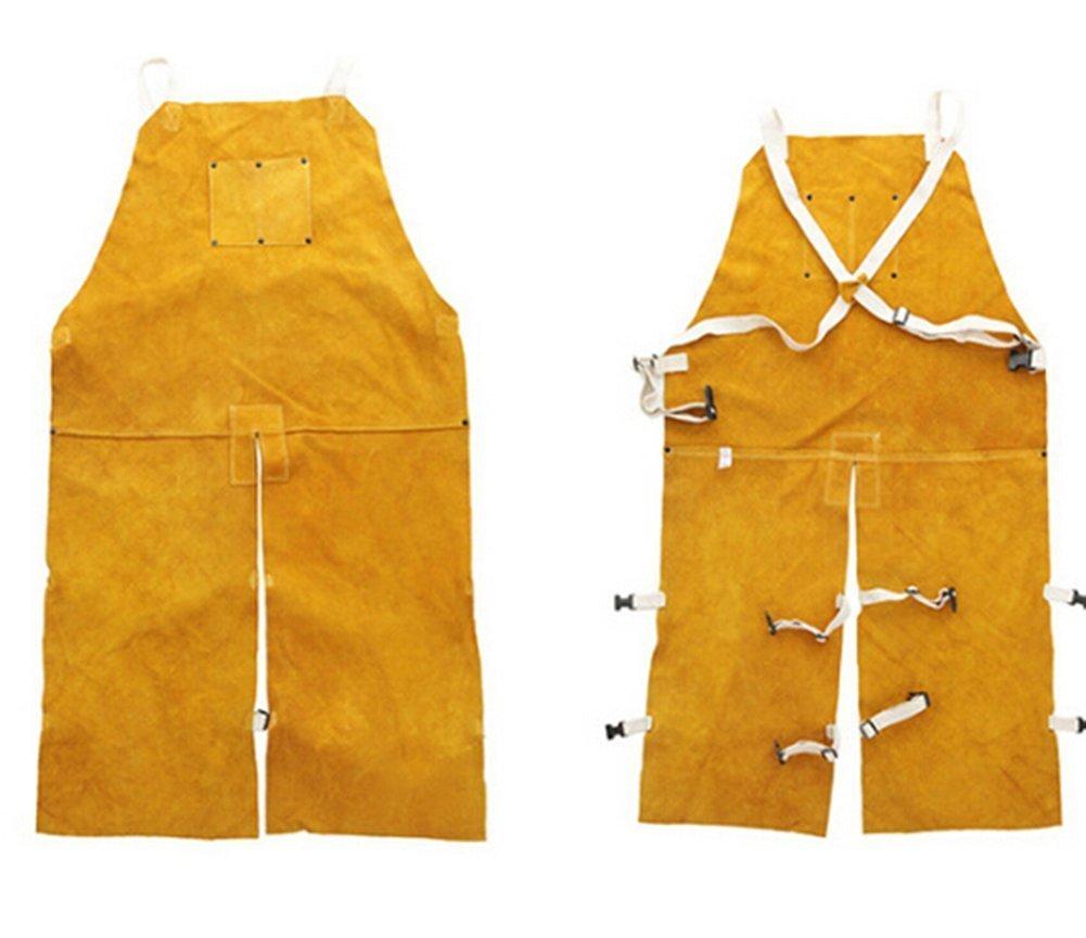 Delantal de soldador de piel auténtica Ropa soldadura Chaqueta trabajo Delantal cuero Chaqueta resistente alta temperatura: Amazon.es: Bricolaje y ...