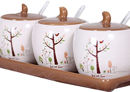 Set di 3 vasi per condimento per spezie in ceramica per cucina ...