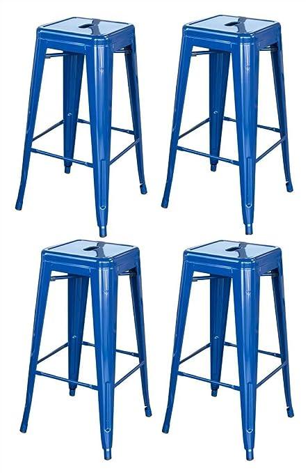 Stupendous Amerihome Bs030Blset Metal Bar Stool Set 30 Inch Blue Set Of 4 Inzonedesignstudio Interior Chair Design Inzonedesignstudiocom