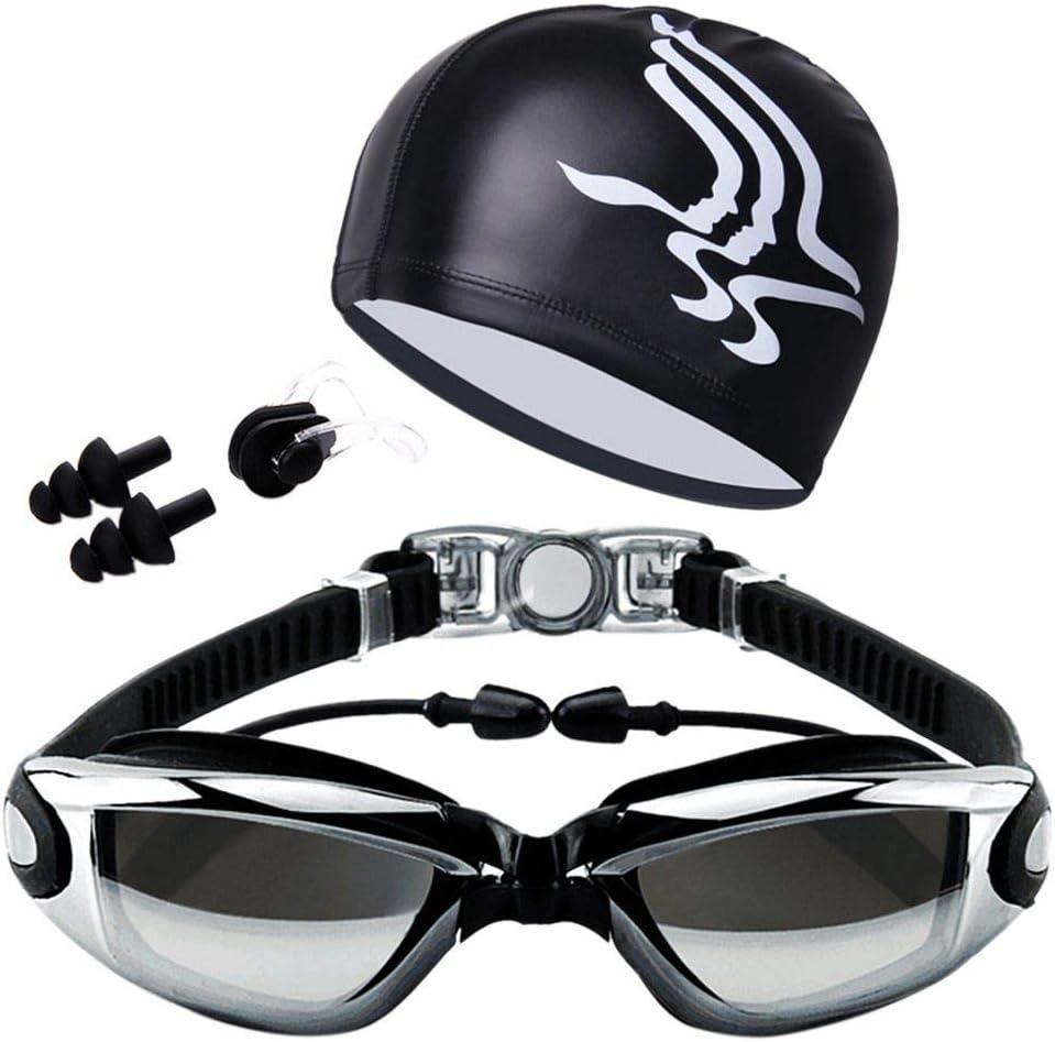 Coohole Professional Swimming Set HD Anti-Fog Swim Goggles Waterproof Swiming Cap with Nose Clip for Adult Men Women Kids