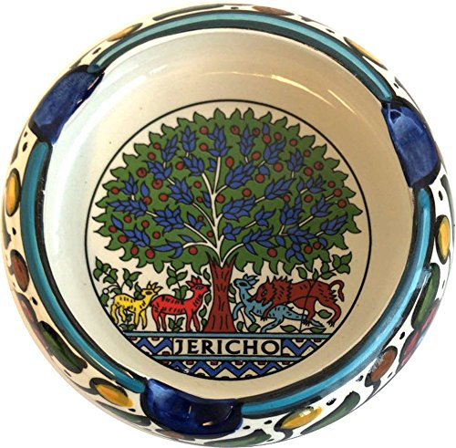 (Holy Land Market Ceramic Round Ashtray with Tree of Life Mosaic - Jericho (4 Inches in diameter) - Asfour Outlet Trademark)