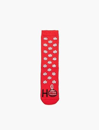 d4d3b8eff6ecf Yilbasi Temali Çorap Kırmızı Tek Beden: Amazon.com.tr: KOTON
