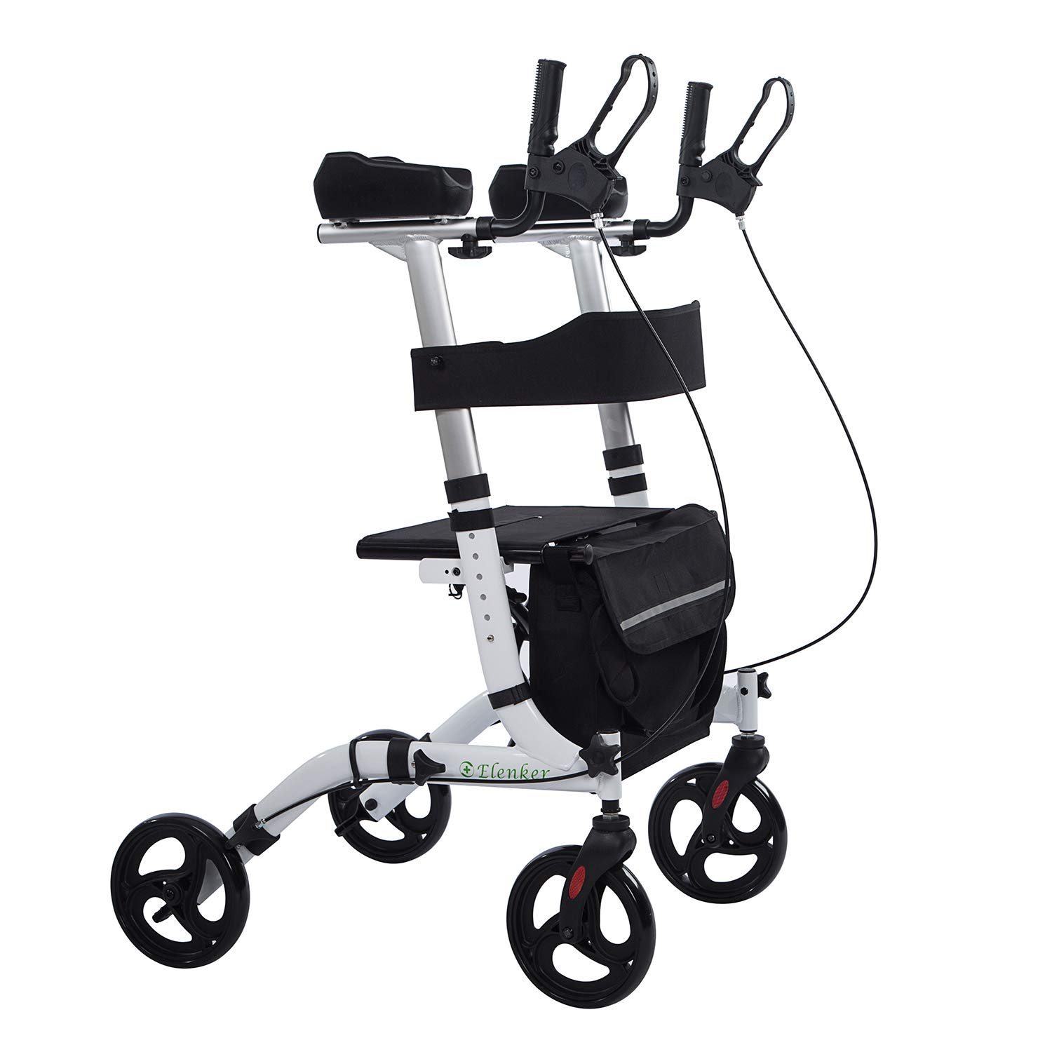 ELENKER Upright Walker, Stand Up Folding Rollator Walker Back Erect Rolling Mobility Walking Aid with Backrest Seat Padded Armrests for Seniors and Adults,White by ELENKER