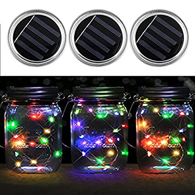 3 Pack - Mason Jar Lights with solar , LED color Solar Fairy Lights, outdoor Solar String Lights of waterproof (Jars Not Included) (Multi-colored)