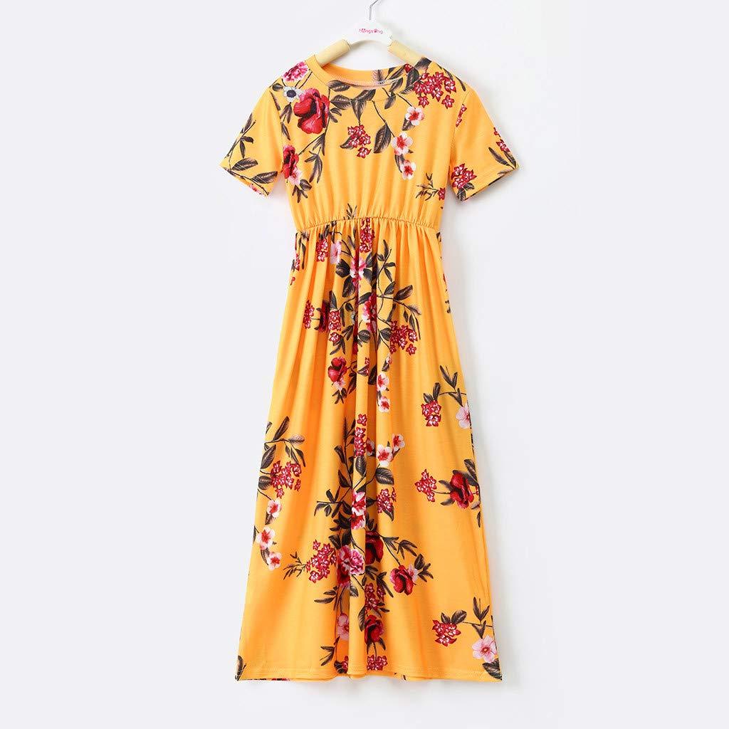 Dresses for Girls,POTO Toddler Baby Girl Kid Flower Print Princess Party Dress Long Maxi Dresses Summer Beach Sundress