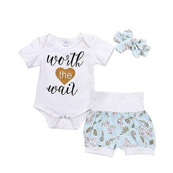 Brief Print Top Pantalones cinta para bebé niña Traje de verano niños camiseta ropa de Bormioli nbayb Talla:6-12M: Amazon.es: Bebé