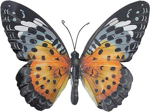 Grand Papillon en Métal Orange et Noir Jardin DExtérieur Décoration de Maison Décoration Murale par Primus: Amazon.es: Hogar