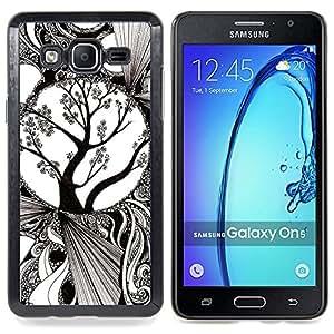 For Samsung Galaxy On5 O5 Case , Arte blanco Florecimiento del árbol - Diseño Patrón Teléfono Caso Cubierta Case Bumper Duro Protección Case Cover Funda