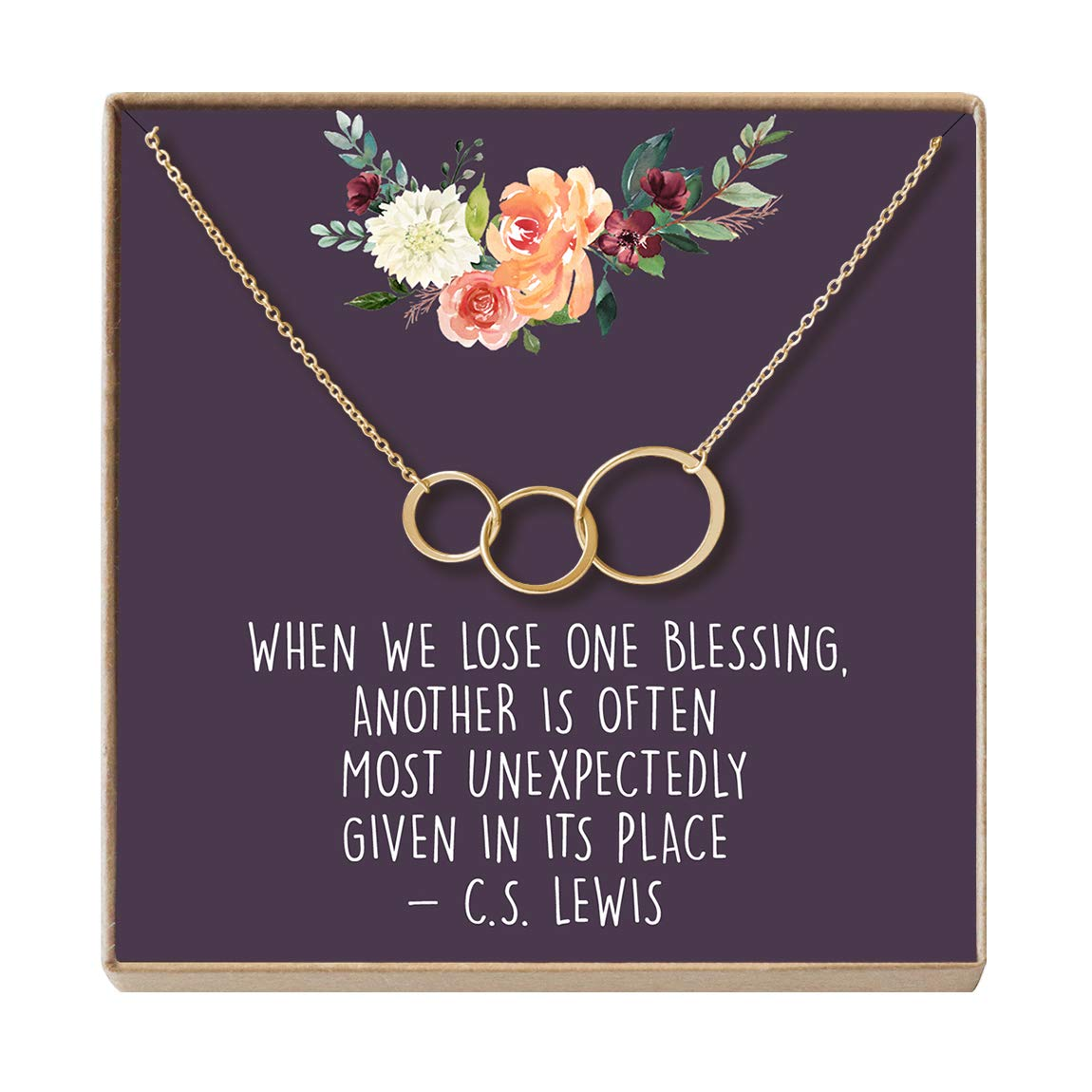 Dear Ava Miscarriage Gift Necklace: Loss of Infant, Baby, Child, in Loving Memory, 3 Asymmetrical Circles (Gold-Plated-Brass, NA)