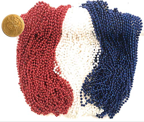Mardi Gras Beads 33 inch 7mm, 12 Dozen, 144 Pieces, Red, White and Blue Patriotic Necklaces with Doubloon ()