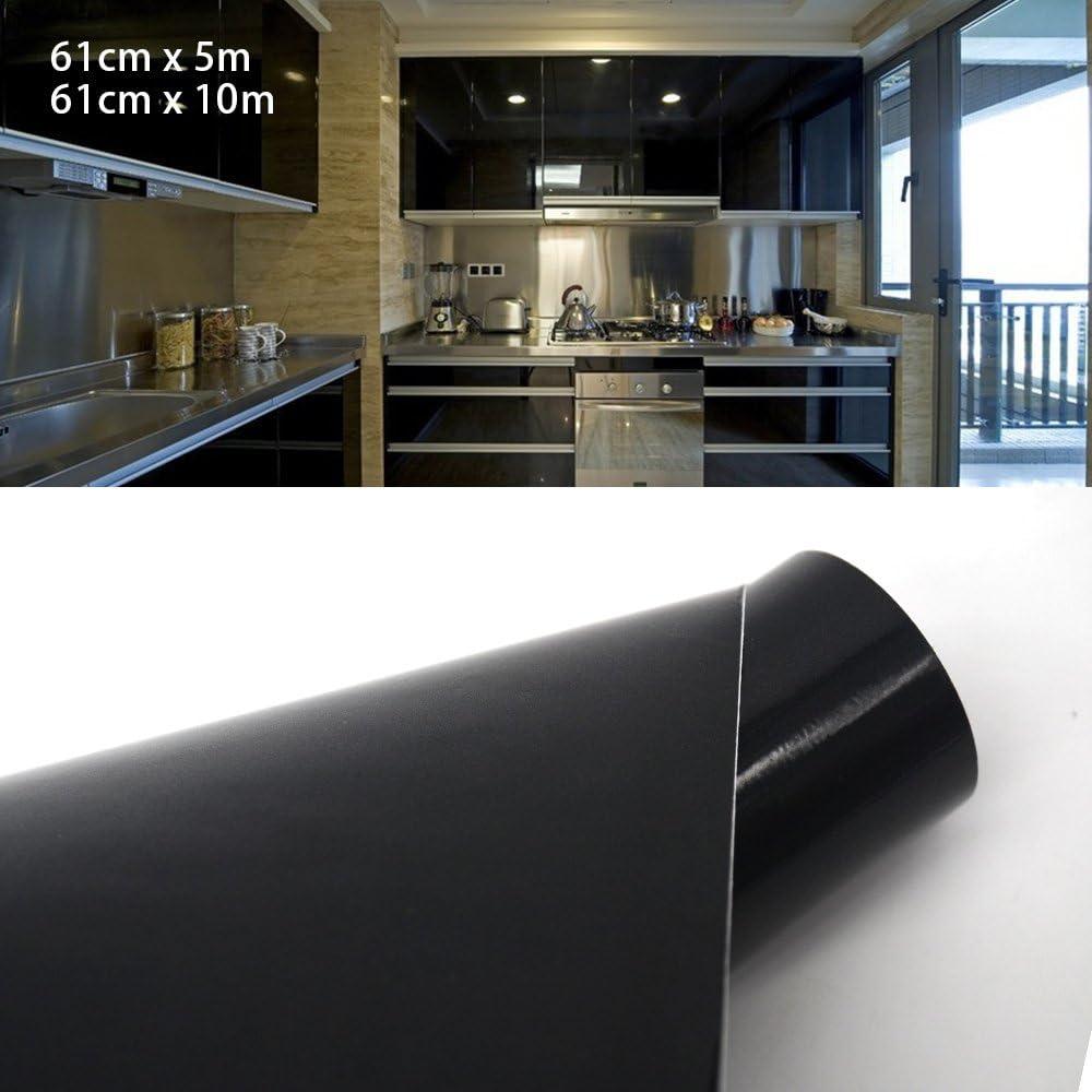 Autoadhesivo con acabado brillante para puertas de armario de cocina, Black Gloss, 61cm*10m: Amazon.es: Hogar