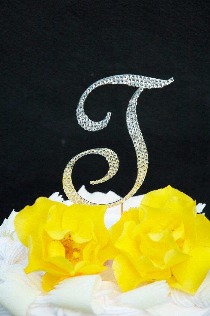 Amazon.com: Swarovski Crystal Monogram Wedding Cake Topper Large ...