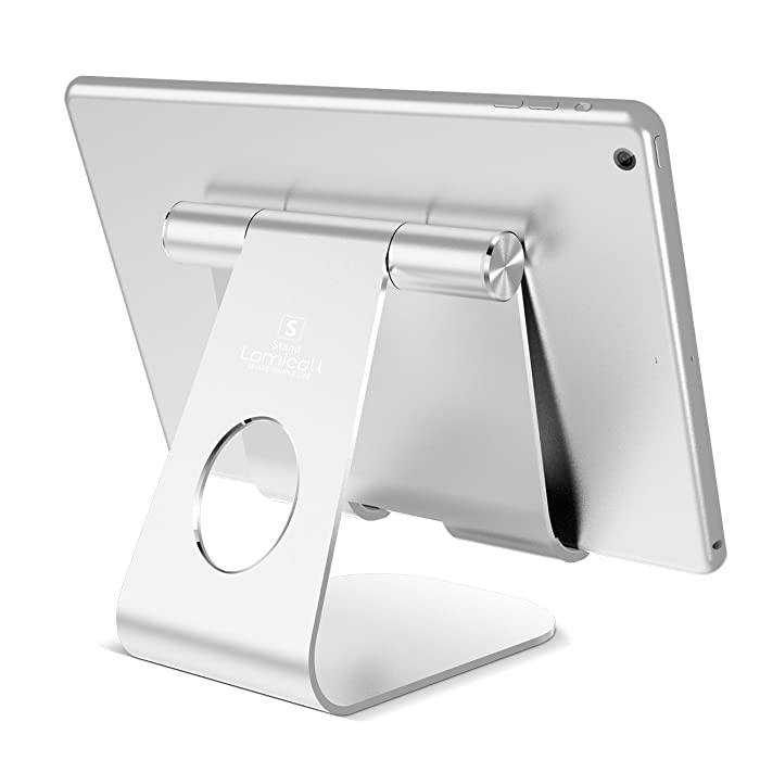 Tablet Stand Adjustable, Lamicall Tablet Stand : Desktop Holder Dock Suitable to New iPad 2017 Pro 10.5, 9.7, Air Mini 2 3 4, Kindle, Nexus, Accessories, E-Reader, Other Tablets (4-13 inch) - Silver