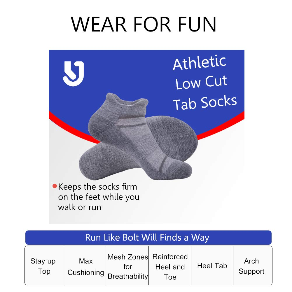 Men's 6 Pack Athletic Ankle Socks with Half Cushion for Running Double Tab Sock by JOYNÉE (Image #6)