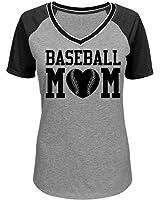 Proud Baseball Mom Pride Jersey: Junior Fit District Mesh Sleeve V-Neck Tee