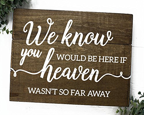 Remembrance Sign Memorial We know You would be here Today (11 inch x 14 inch) (Know Sign)