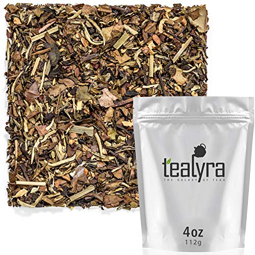 - Tealyra - White Ayurvedic Chai - Sweet Spicy - White Tea - Cinnamon - Ginger - Healthy Loose Leaf Tea - Vitamins Antioxidants Rich - Low Caffeine - 112g (4-ounce)